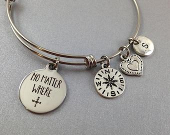 No Matter Where Bangle, No Matter Where Bracelet, Best Friend Bracelet, Mother Daughter Bangle,  Custom Bangle, Initial Charm, Personalized