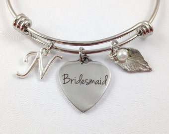 Bridesmaid Charm Bracelet, Bridesmaid Bracelet, Wedding Jewelry, Bridesmaid Jewelry, Bridesmaid Gift, Bridesmaid Bangle, Personalized