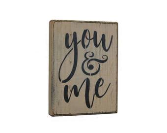 Rustic You & Me Wood Block Shelf Sitter