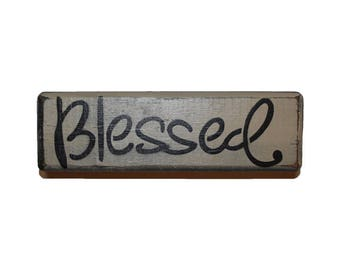 Rustic Blessed Mini Wood Block Shelf Sitter