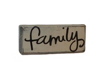 Rustic Family Mini Wood Block Shelf Sitter