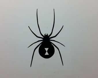 Black Widow spider  symbol vinyl decal sticker, several sizes and colors to choose from