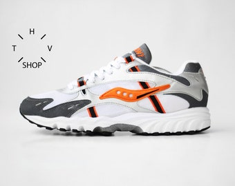 NOS Vintage Saucony Team Aya sneakers   White Gray Orange Deadstock Kicks  Trainers mens shoes   Athletic Sports deadstock DS OG   90s abbf08af7
