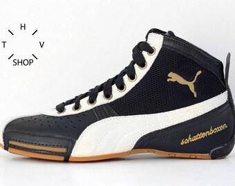 f04b43158e NOS Puma Schattenboxen Mid boots   OG Deadstock Trainers Sneakers Hi Tops    Black White Gum vintage kicks   Boxing Wrestling Combats shoes