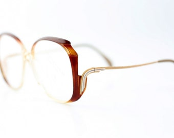 4e70f439ef NOS vintage haute couture Neostyle Mondial eyeglasses   Brown Translucent  glasses   Oversized optical frames eyewear   made in Germany 70s