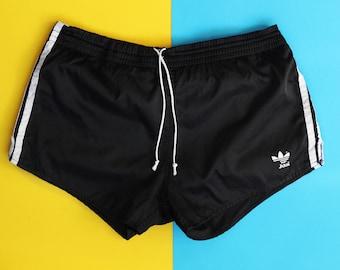 86508bae7 80s vintage adidas Originals nylon shorts / Beckenbauer Soccer Running  Sports Unisex Jogging / Retro Gym Workout swim summer black 90s 34 M