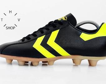 665788bbc5a NOS Vintage HUMMEL Rudiger Abramczik Soccer boots   Black Soccer OG cleats    Football Boots   Leather Mens Cleats   Made in West Germany 70s