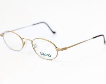 78458c57c5b3 NOS vintage BIANCO International oval metal gold eyeglasses   Designer glasses  spectacles   Unisex retro frame eyewear made in Japan 80s 90s