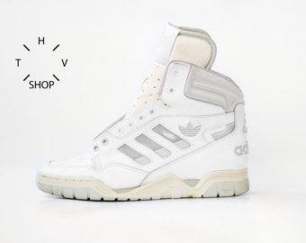NOS 1990 vintage adidas Phantom Hi Tops sneakers   Unisex White Basketball  hitop kicks   OG Deadstock trainers shoes   made in Taiwan 90s f0bb2bbaa