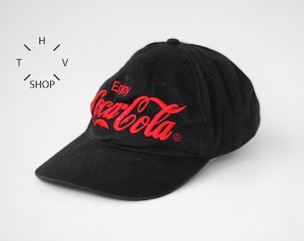 abb2f7596308c Vintage Enjoy Coca Cola hat   Black Red Embroidered cap   Coca Cola Kith  unisex trucker   80s 90s OG