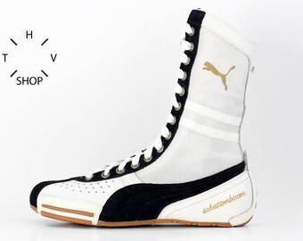500428712af NOS Puma Schattenboxen hi tops boots   OG Deadstock Trainers Sneakers    White Black vintage kicks   Boxing Wrestling Combats MMA shoes