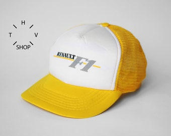 3a643112391 NOS Vintage Renault Formula Uno One 1 F1 trucker   Racing Driving Yellow  White cap   Grand Prix Monza Monaco car racing hat   80s 90s OG