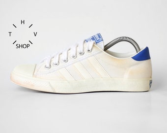 huge selection of f7cb3 25f11 Vintage Adidas Originals Tennis canvas sneakers   Nizza Cannes low trainers    Retro Oldschool Athletic Shoes Kicks   80s made in Philippines