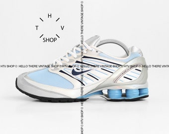 6e1a7046be vintage Nike Shox GO womens sneaker / Turbo Propulsion R4 kicks mens Unisex  / Metallic Silver Blue shoes trainers Running / made in Vietnam
