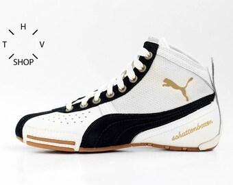 99b84ffd03 NOS Puma Schattenboxen Mid boots   OG Deadstock Trainers Sneakers Hi Tops    White Black vintage kicks   Boxing Wrestling Combats MMA shoes
