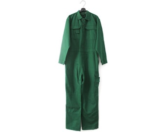 Deadstock 90s vintage jumpsuit / NOS New old stock overall coverall / Green cotton boiler suit / 54 L XL men's