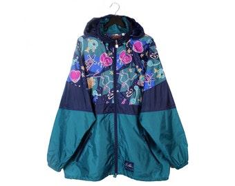 90s Sports Jeantex vintage soft shell jacket / Multi-color light rain jacket / Waterproof outdoor jacket / XL men's 3XL women's
