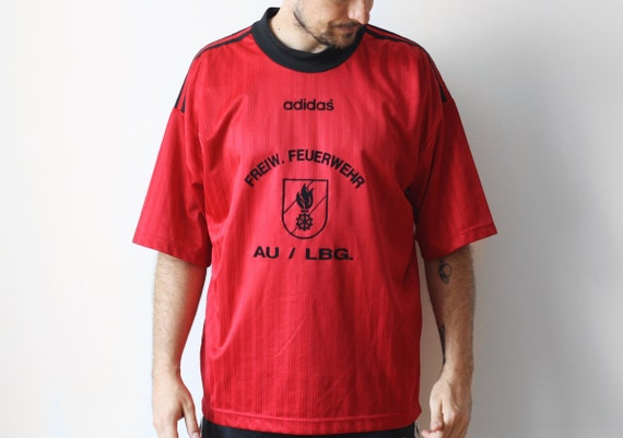 70er Jahre Vintage Adidas SC Postausoccer Tshirt Fußball Fußball Trikot T shirt Retro T shirt t Shirt Top hergestellt in Westdeutschland 80er