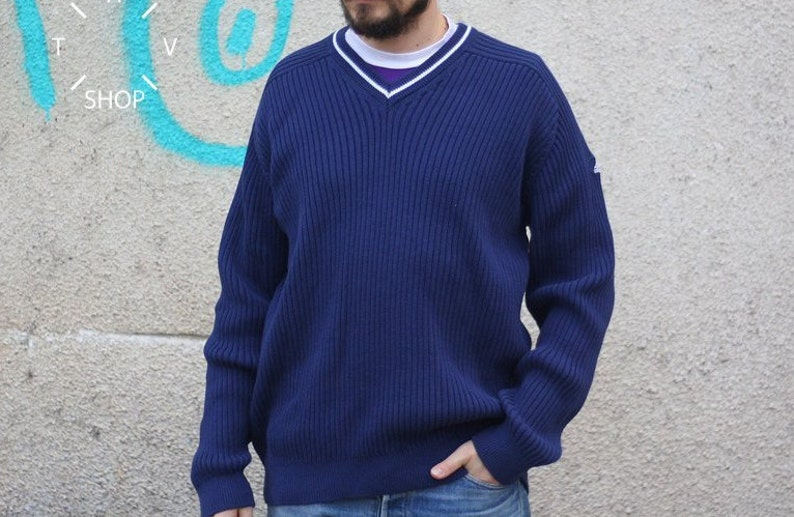 release date: 2aa0c f17c8 Vintage Adidas Equipment pullover  Mens navy blue jumper   E