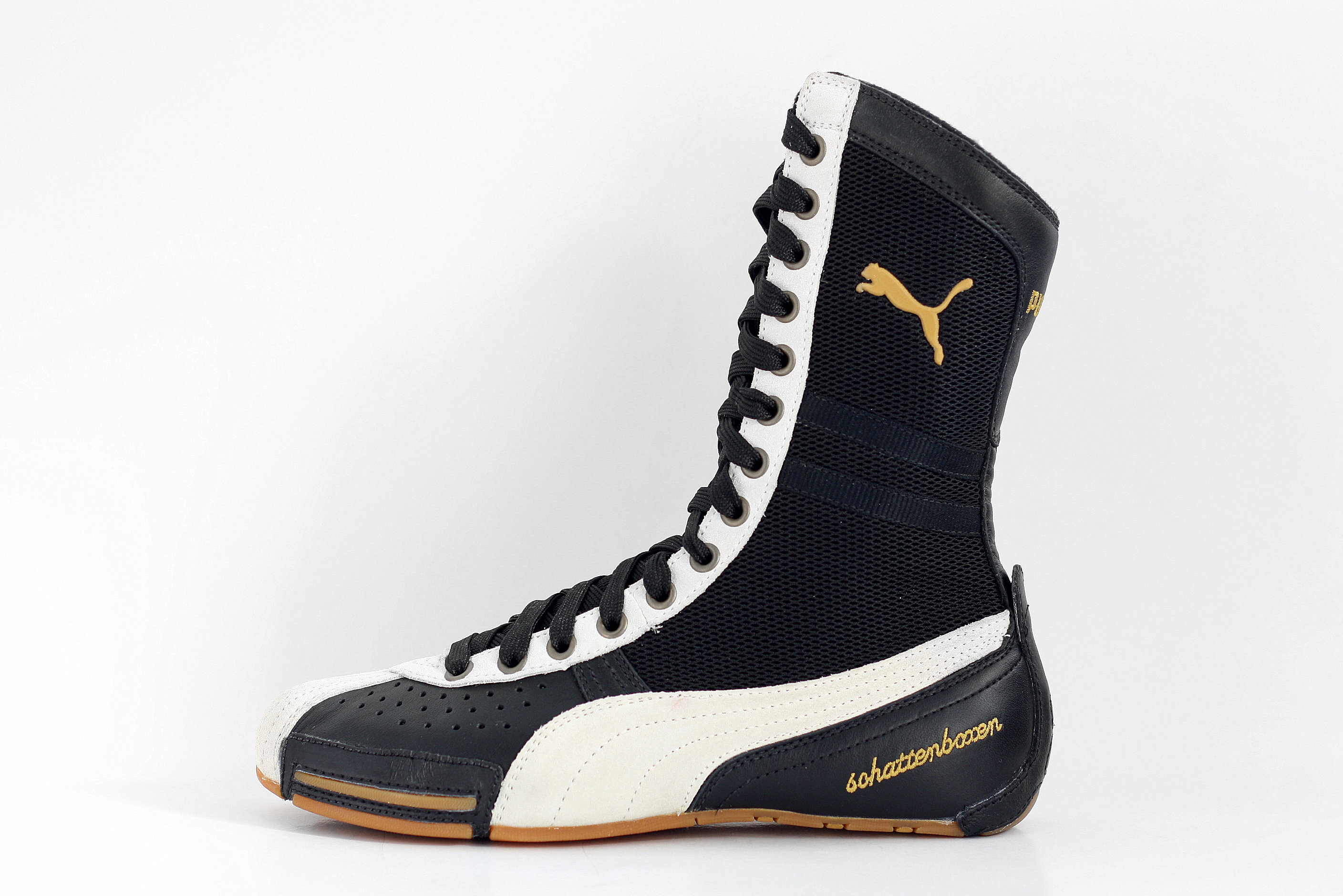 NOS vintage Puma Schattenboxen hi tops boots OG deadstock trainers sneakers Black White boxing Wrestling Combats MMA shoes kicks 90s
