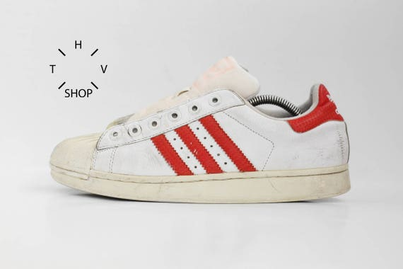the latest bfe34 fe9a7 Vintage Adidas Originals Superstar sneakers   White Red Leather trainers    Etsy