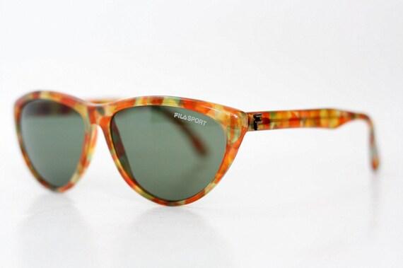80s NOS vintage Fila Sport cat eye sunglasses Deadstock new old stock tortoise shades Designer retro sunnies eyewear made in Italy 90s