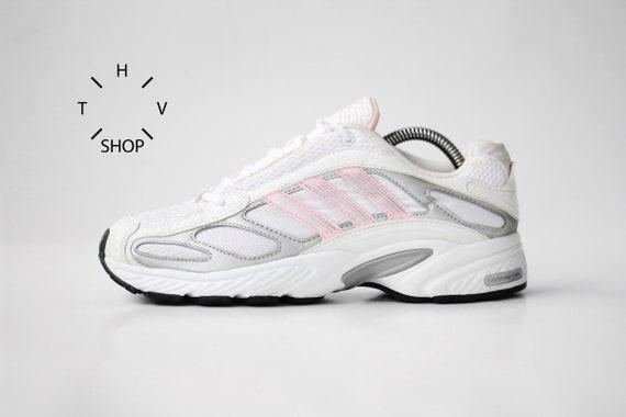 sale retailer 3f0e6 0b0f6 Vintage adidas EQT Running sneakers / White Silver Pink kicks Trainers /  LiteStrike EVA Deadstock OG Original Retro shoes / 90s