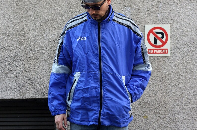 Details about Adidas Baby Blue Track Suit Jacket XXL Windbreaker Coat 2XL