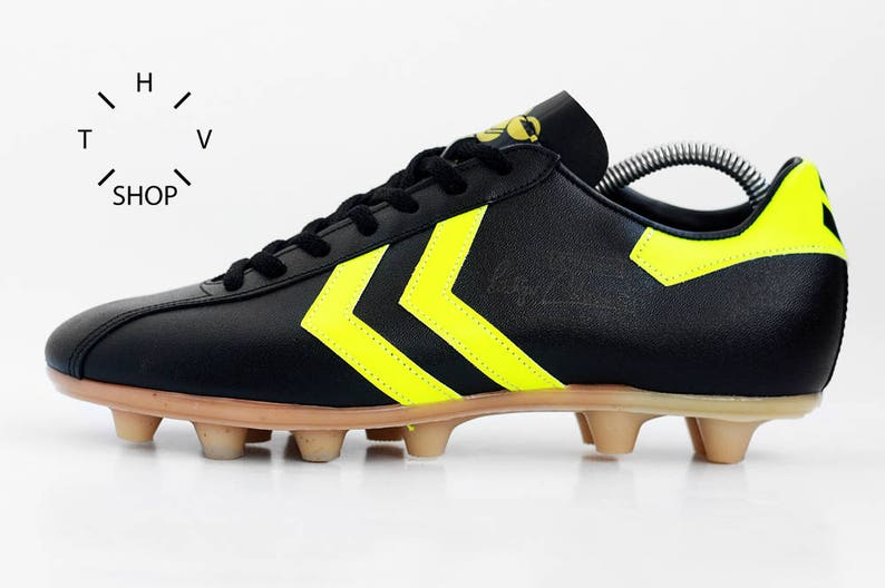 90846bfbd10ee NOS Vintage HUMMEL Rudiger Abramczik Soccer boots / Black Soccer OG cleats  / Football Boots / Leather Mens Cleats / Made in West Germany 70s