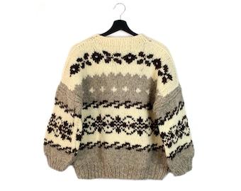 80s Scandinavian vintage wool sweater / Unisex womens pure wool sweater / Hand knitted winter jumper / XXS men S M women