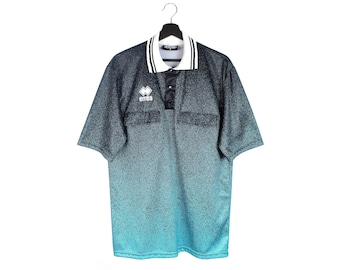 90s vintage ERREA referee t-shirt / Y2k soccer jersey shirt / Nylon men's tee shirt / S M men