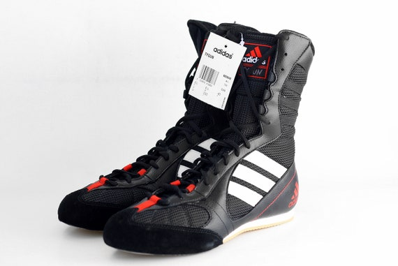 look out for special for shoe on feet shots of NOS vintage adidas Tygun boots / OG Deadstock Trainers Sneakers / Black  White Red kicks / Lightweight Boxing Wrestling Combats MMA shoes 90s