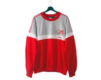 80s vintage adidas SLV FSA Switzerland sweatshirt / Swiss athletic crewneck sweater / France Ventex / L XL men's