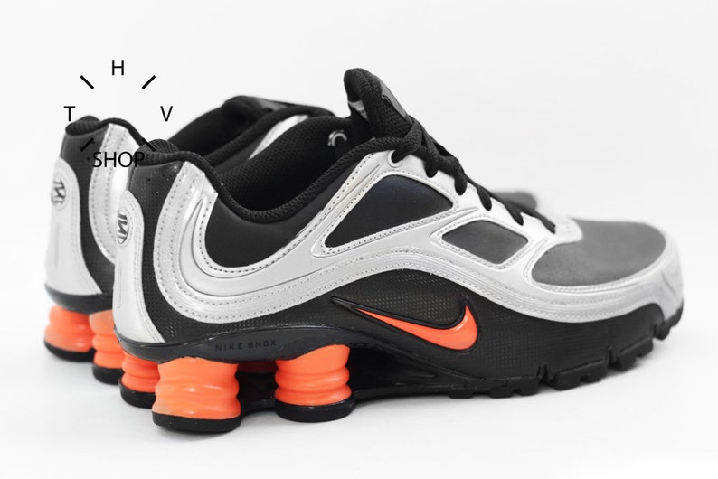 san francisco 52d1a bb04f NOS Nike Shox Turbo 9 SL / Vintage R4 NZ kicks sneakers womens kids / Black  Orange Silver shoes trainers / Nike Running / made in Vietnam