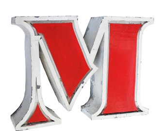 60s vintage M or W Industrial letter / Salvaged socialist advertising letter / Large channel volumetric decor letter / Romania