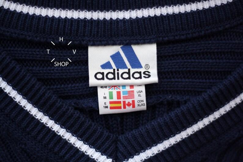 Vintage Adidas Equipment Pullover Herren Marine blau Pullover Crewneck V neck Pullover Oldschool Sweatshirt aus in der Türkei 90er Jahre