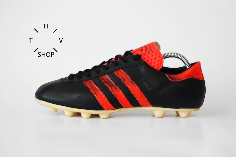 2e4c66d739 Vintage Adidas Chile soccer boots / Black Neon Red OG cleats / World Cup  Football Boots / Leather Cleats / Made in West Germany 70s