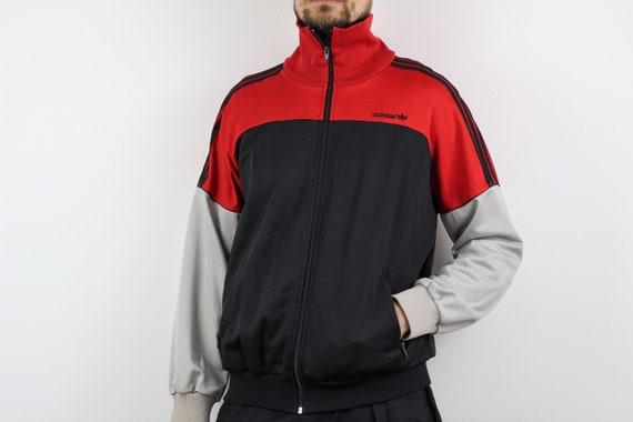 80s vintage adidas Originals zip track top jacket Retro Black Gray red anorak hoodie Retro Oldschool tracksuit made in Hungary L