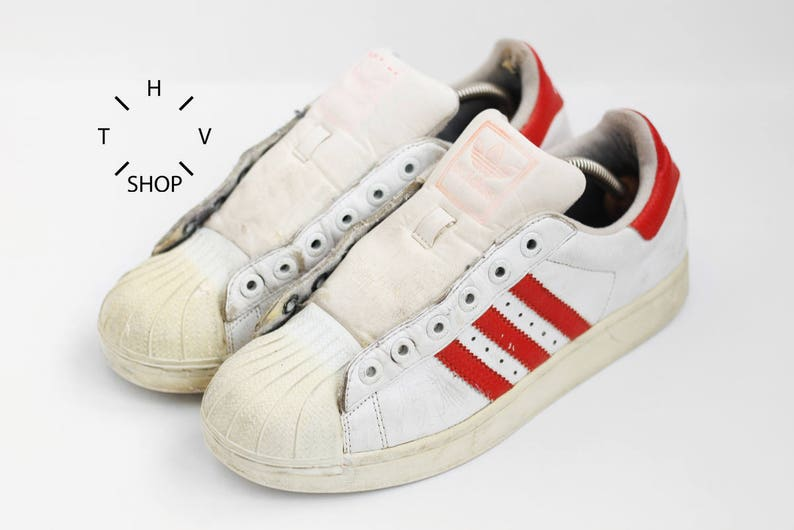 5310cef654a5 Vintage Adidas Originals Superstar sneakers   White Red Leather trainers    Oldschool hip hop Run DMC kicks   made in China 90s