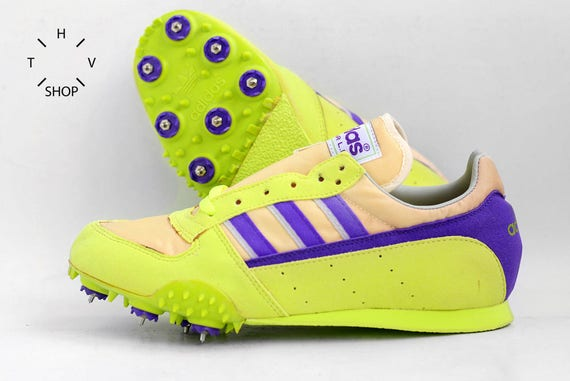 8e8ec0c327061 NOS Adidas Tech Star LD shoes / Vintage Track Field Spikes / Deadstock  Sport shoes Green neon Purple / Made in Yugoslavia 1980s