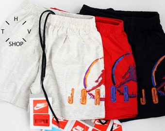 NOS Vintage Nike Air Jordan Champion junior shorts / Kids basketball pants / Youth trunks / Black Grey Red deadstock / Made in Greece 90s