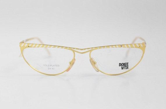 NOS vintage Haute Couture DOLCE VITA 24K gold plated eyeglasses Cat Eye Designer Glasses Retro Frames Womens made in Italy 70s 80s