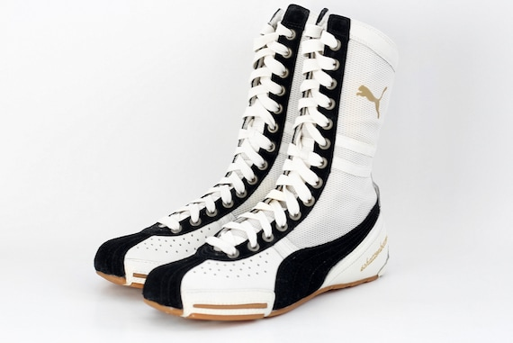 90s NOS vintage Puma Schattenboxen hi tops boots OG Deadstock sneakers trainers Boxing Wrestling white black kicks Combats MMA shoes