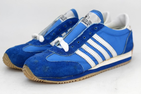 80s NOS vintage RoEm sports sneakers Deadstock athletic suede shoes trainers kicks 4 stripes adidas kicks blue white Taiwan 90s