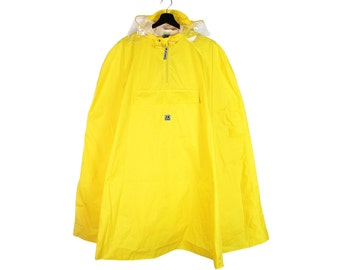 90s vintage Jeantex soft shell hooded cape poncho / UNisex Yellow waterproof outdoor raincoat coat / OS One Size
