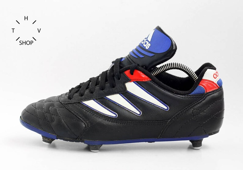 8a4d293a9b6b2 Vintage ADIDAS 1995 soccer boots / Adidas soccer football cleats / Leather  Mens Kids metal cleats shoes / Made in Indonesia 90s