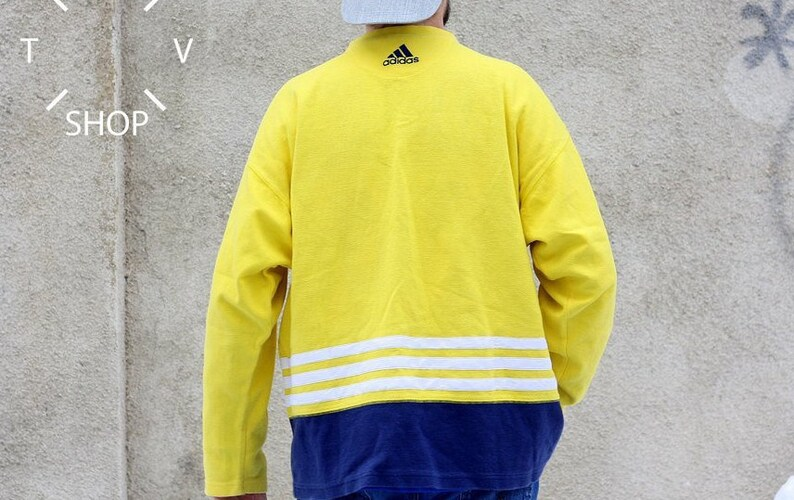 Vintage 90er Jahre Adidas Equipment Sweatshirt Pullover Gelb Herren Rundhalspullover Oldschool Adidas Pullover made in Thailand L XL