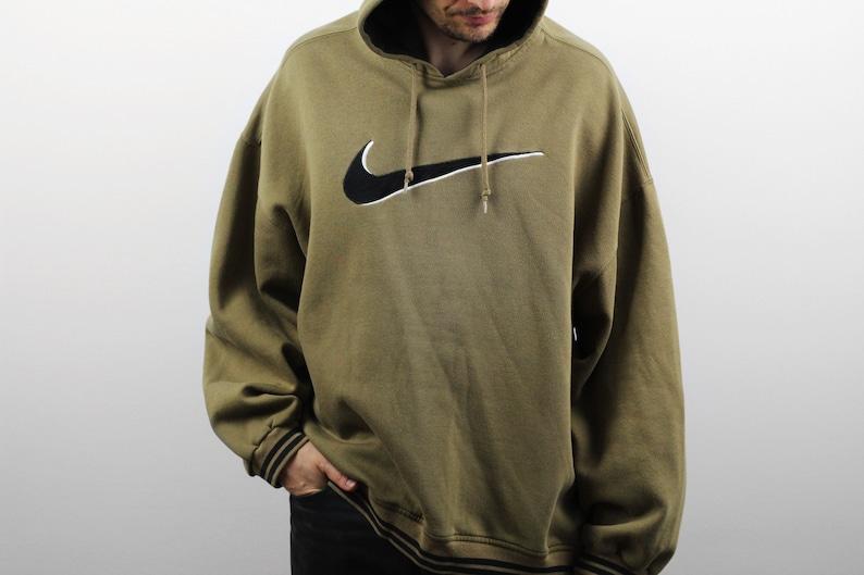 8cfada46fee7 Vintage NIKE Big Swoosh hoodie / Mens Khaki longsleeves | Etsy