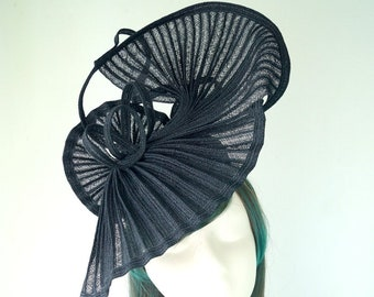 Black Straw Hat Hatinator Wide Brim Racing Carnival Wedding Guest Melbourne Cup Kentucky Derby Day Special Occasions Millinery Ready to Ship