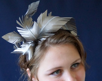 Silver Leather Feathers Headband Fascinator Crown Headdress Party Spring Racing Carnival Wedding Reception Special Occasion Ready to Ship